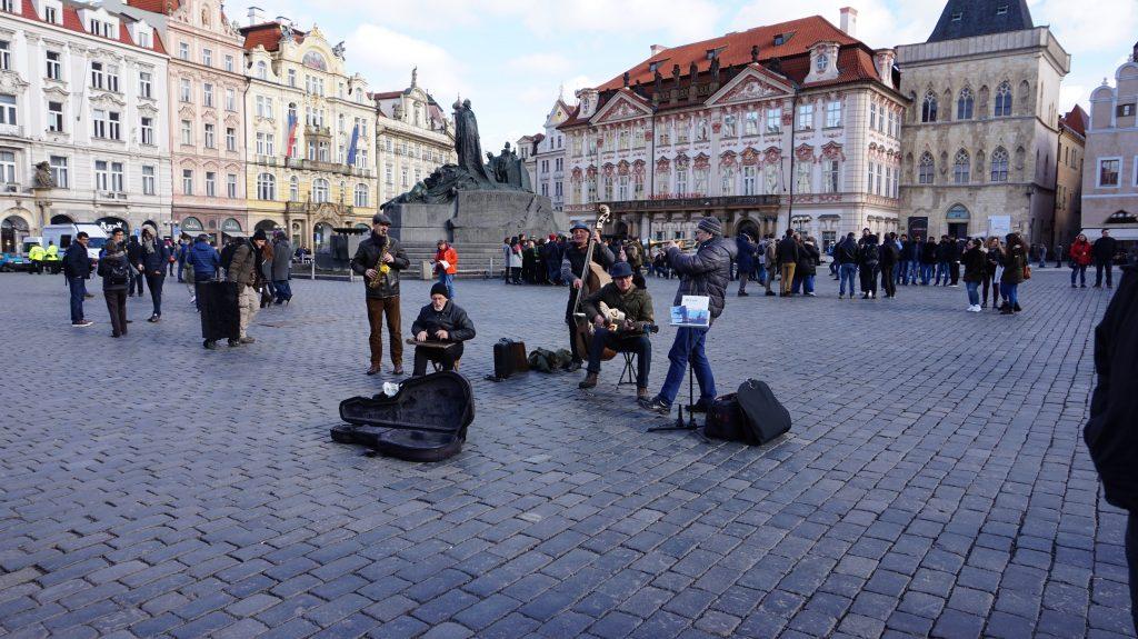 Banda de música en Praga